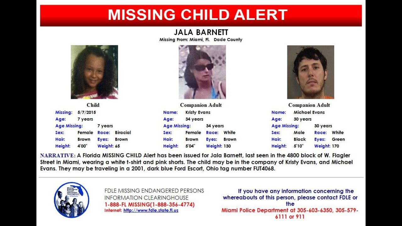 Fla  Missing Child Alert issued for 7-year-old girl in Miami