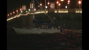 Two people on-board a vessel were not injured when a sailboat crashed into the Bridge of Lions Wednesday morning in St. Augustine.