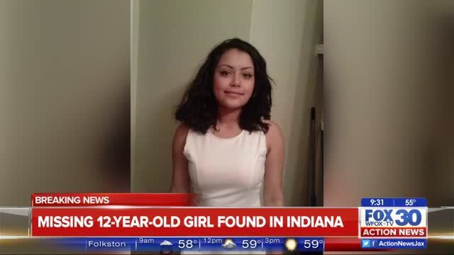 missing jacksonville 12 year old found in indiana