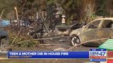 Teen & mother die in house fire