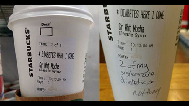 Man Gets Starbucks Cup That Says DIABETES HERE I COME