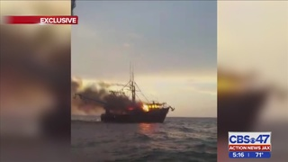 3 people evacuated from shrimp boat fire on St. Marys Sound