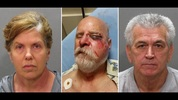 Terry Lodge (left) and William Lodge (right) are accused of beating 66-year-old veteran Charles Hughes (middle).