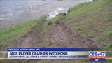 Jags player drives into pond