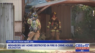 Neighbors relieved after suspected drug, prostitution house burns down