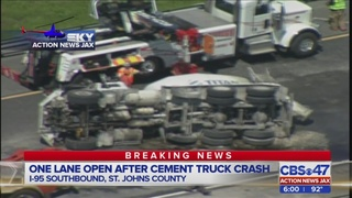 Cement truck crash causes massive delays on I-95 in St. Johns