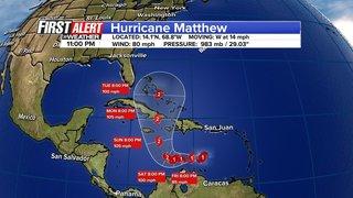 Hurricane Matthew gradually intensifying, moving west