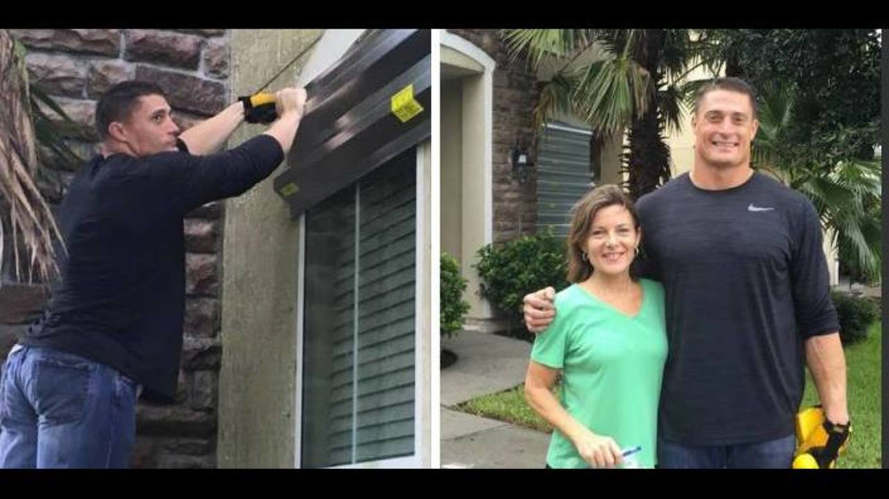 Jaguars Paul Posluszny helps neighbor with hurricane shutters