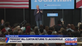 President Bill Clinton stops in Jacksonville for presidential tour