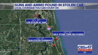 Guns, ammunition found in stolen car abandoned in St. Augustine
