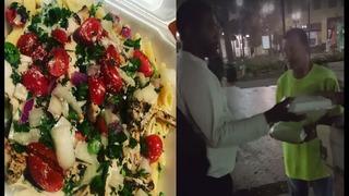 Restaurant donates food to homeless at Jacksonville Landing, downtown
