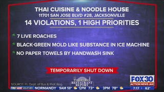 Thai restaurant closed for roaches