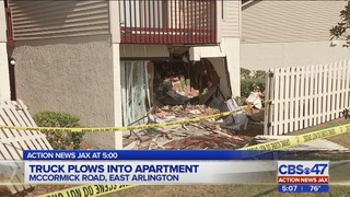 Truck slams into Jacksonville apartment complex Thursday