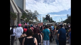 Hundreds of people rally in Jacksonville as part of nationwide women