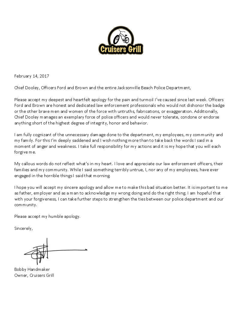 Owner of Cruisers Grill sends apology letter to Jacksonville Beach – Apology Letter to Family