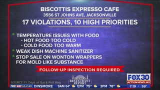 Restaurant report: Temperature issues with food at Jacksonville