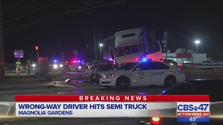 Wrong-way driver hits semitruck in Jacksonville, 3 people hurt