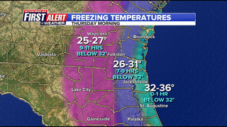 Some areas of Jacksonville could see temps in the mid 20s early Thursday