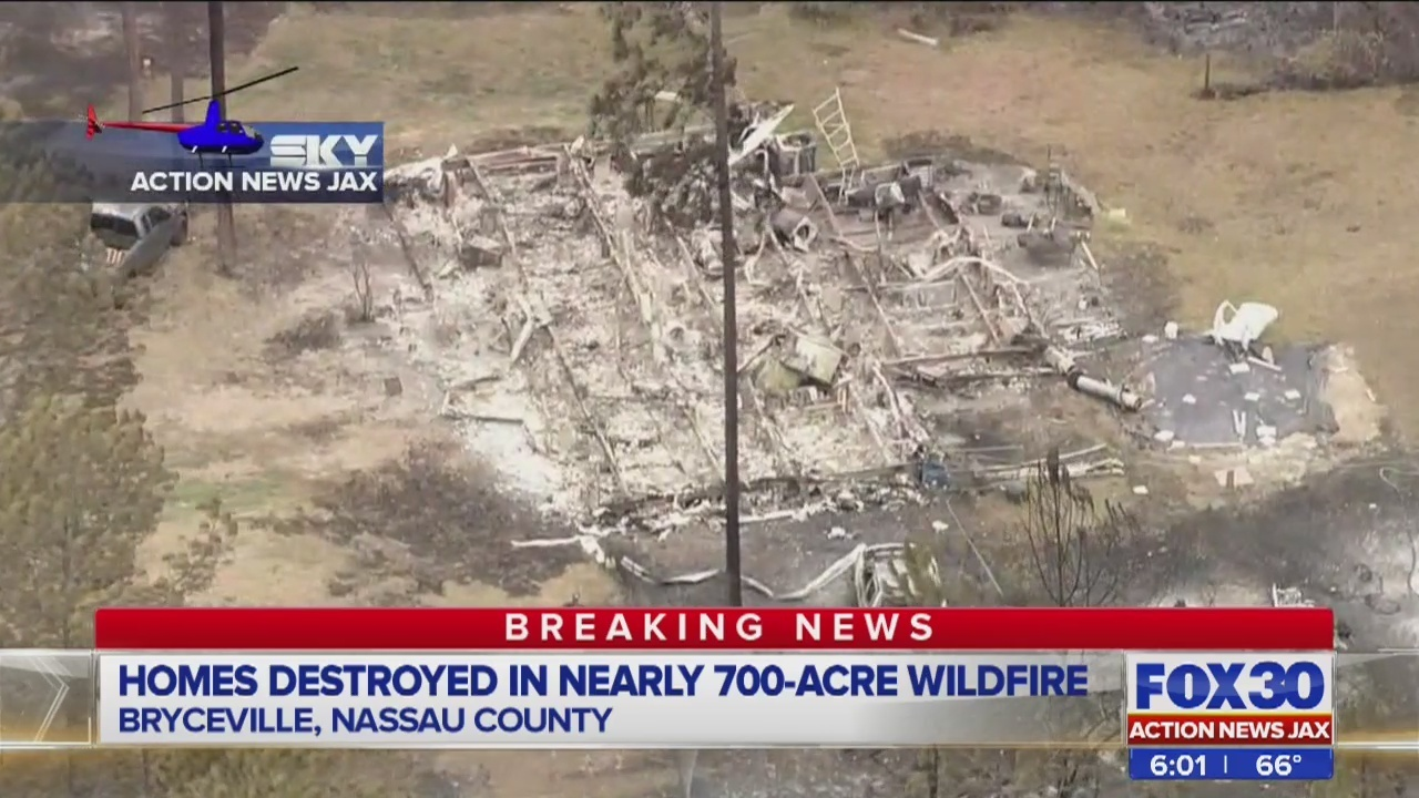 2 homes destroyed 8 damaged in bryceville wildfire wjax tv