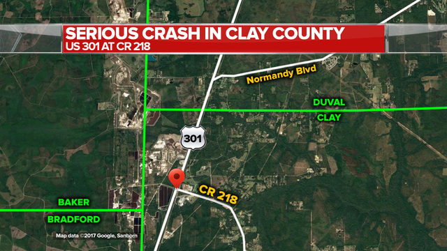 Truck Driver Cited In Serious Crash On US In Clay County WJAXTV - Us 301 map
