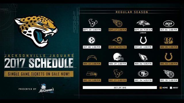 jacksonville jaguars release 2017 regular schedule wjax tv. Cars Review. Best American Auto & Cars Review