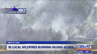 18 local wildfires burning 50,000+ acres