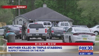 Suspect in triple-stabbing on the run