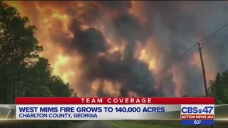 West Mims wildfire spreads to 140,000 acres