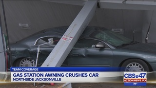 Awning falls on car during storms on Jacksonville