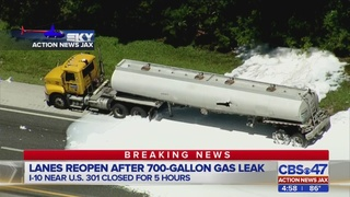 Accident causes gas leak, closes I-10 west of Jacksonville