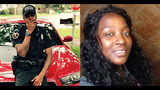 Brunswick police officer Aldrid Spaulding III was off duty at the time of Monday night's stabbing, but tried to diffuse the situation. Ultimately, Spaulding shot David Bell so he could save Erica Williams (right), investigators said.
