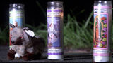 Candles and stuffled animals adorned the memorial.