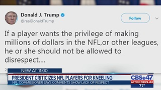 President Trump criticizes NFL players for kneeling