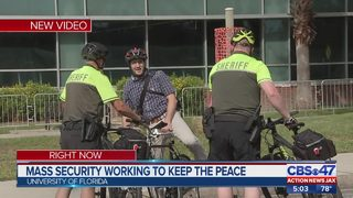 Mass security working to keep the peace