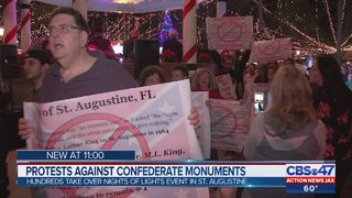 Hundreds protest Confederate monuments at St. Augustine