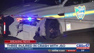 3 people in truck injured in crash involving Jacksonville police cruiser