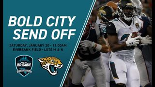 Bold City Brigade gathering at EverBank Field to see the Jaguars off to the AFC Championship