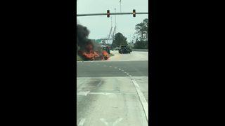 Jacksonville crews responding to car fire on Heckscher Drive