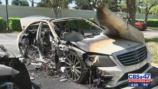 2 Mercedes torched inside gated apartment complex; investigation underway