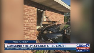 Baker County church members thank strangers after truck crashes into church