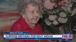 Surprise birthday party for Navy widow