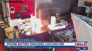 WATCH: iPhone battery catches fire at St. Johns County repair shop