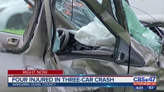 Four injured in three car crash