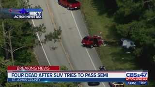 Four dead after SUV tries to pass semi