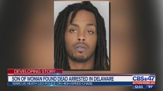 Son of woman found dead arrested in Delaware