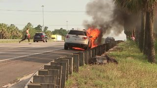 Video: Tires explode when car catches fire on I-95