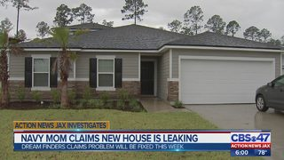 Navy mom claims new house is leaking