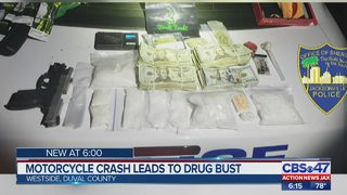 Motorcycle crash leads to drug bust