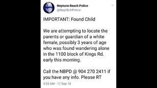 Neptune Beach Police locate family of toddler found wandering alone