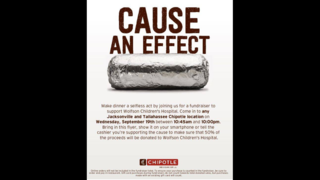 Eat at Chipotle on Sept. 19 to help local children at Wolfson Children